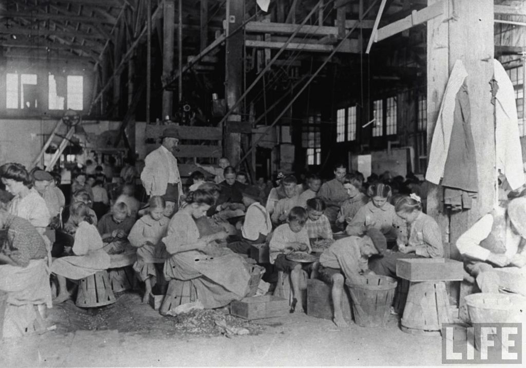Child cannery workers sitting on bushelbaskets as they prepare beans under watchful eye of foreman. Source: LIFE Magazine