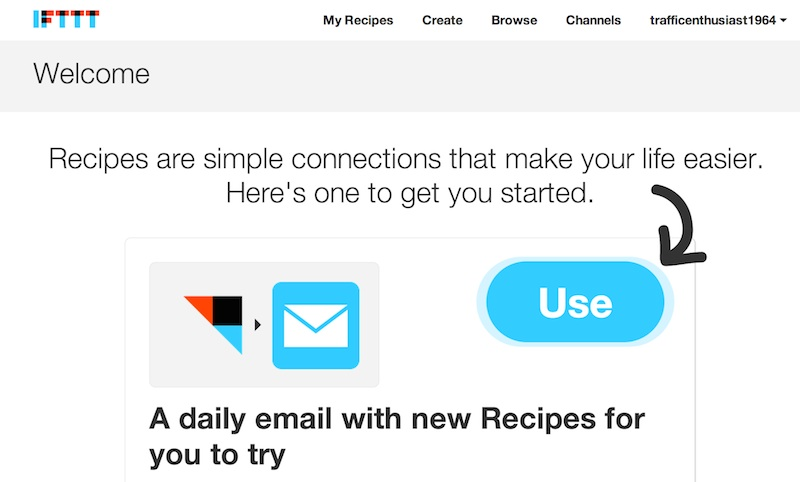 IFTTT Signed in page